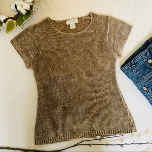 Vtg. Express Tricot Chenille Tan Fitted Sweater Sm
